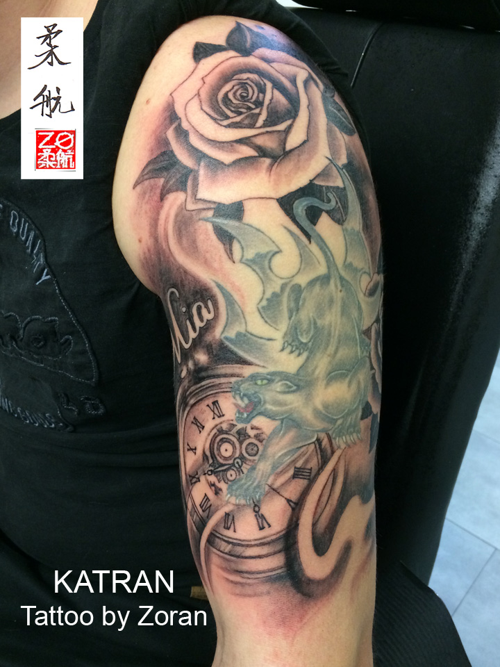Tattoo Horloge Et Rose Wu Ji